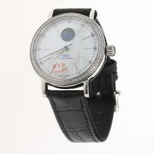 IWC Portofino Moonphase Automatic Diamond Bezel with MOP Dial-Black Leather Strap