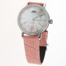 IWC Portofino Moonphase Automatic Diamond Bezel with MOP Dial-Pink Leather Strap
