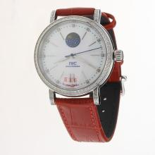 IWC Portofino Moonphase Automatic Diamond Bezel with MOP Dial-Red Leather Strap