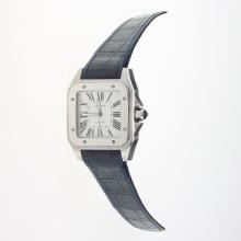 Cartier Santos 100 Automatic with White Dial-Blue Leather Strap