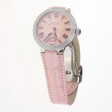Cartier Ballon bleu de Cartier Diamond Bezel with Pink Dial-Pink Leather Strap
