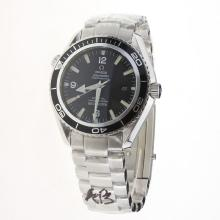 Omega Seamaster Swiss ETA 2836 Movement White Markers with Black Dial S/S-Carved Movement