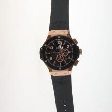 Hublot Big Bang Automatic Rose Gold Case Ceramic Bezel with Black Dial-Rubber Strap