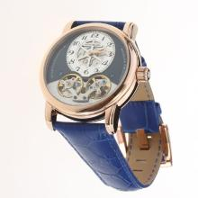 Montblanc Nicolas Rieussec Twin Barrels Tourbillon Automatic Rose Gold Case with Blue Dial-Leather Strap