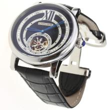Cartier Calibre de Cartier Tourbillon Automatic with Black Dial-Leather Strap