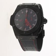 Hublot King Power Chronograph Swiss Valjoux 7750 Movement Ceramic Case Red Markers with Black Dial