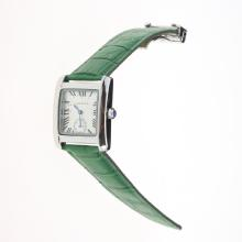 Cartier Tank White Dial with Green Leather Strap-Lady Size