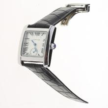 Cartier Tank White Dial with Black Leather Strap-Lady Size