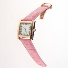 Cartier Tank Rose Gold Case White Dial with Pink Leather Strap-Lady Size