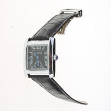Cartier Tank Black Dial with Black Leather Strap-Lady Size