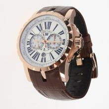 Roger Dubuis Excalibur Automatic Rose Gold Case with White Dial-Leather Strap