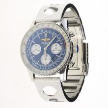 Breitling Navitimer Chronograph Swiss Valjoux 7750 Movement Stick Markers with Blue Dial S/S-1