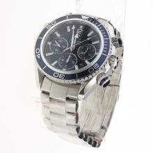 Omega Seamaster Chronograph Swiss Valjoux 7750 Movement with Blue Dial S/S