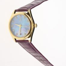 Omega Seamaster Swiss ETA 8500 Movement Gold Case with Blue MOP Dial-Purple Leather Strap