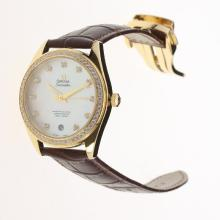 Omega Seamaster Swiss ETA 8500 Movement Gold Case Diamond Bezel with MOP Dial-Brown Leather Strap