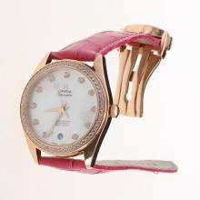 Omega Seamaster Swiss ETA 8500 Movement Rose Gold Case Diamond Bezel with MOP Dial-Peachblow Leather Strap