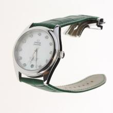 Omega Seamaster Swiss ETA 8500 Movement with MOP Dial-Green Leather Strap