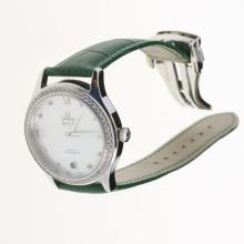 Omega Seamaster Swiss ETA 8500 Movement Diamond Bezel with MOP Dial-Green Leather Strap-1
