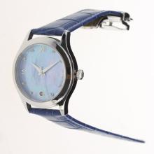 Omega Seamaster Swiss ETA 8500 Movement with Blue MOP Dial-Blue Leather Strap-1