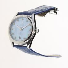Omega Seamaster Swiss ETA 8500 Movement with Blue MOP Dial-Blue Leather Strap