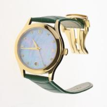 Omega Seamaster Swiss ETA 8500 Movement Gold Case with Blue MOP Dial-Green Leather Strap