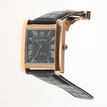 Cartier Tank Rose Gold Case with Black Dial-Leather Strap-1