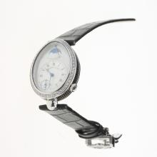 Breguet Reine de Naples Diamond Bezel with White Dial-Leather Strap-1
