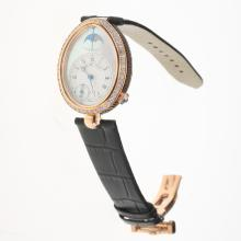 Breguet Reine de Naples Rose Gold Case Diamond Bezel with White Dial-Leather Strap-1