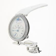 Breguet Reine de Naples Diamond Bezel with White Dial-Leather Strap