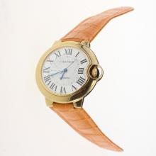 Cartier Ballon bleu de Cartier Automatic Gold Case with White Dial-Orange Leather Strap