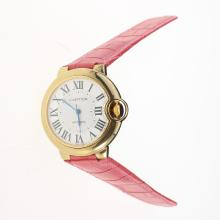 Cartier Ballon bleu de Cartier Automatic Gold Case with White Dial-Pink Leather Strap