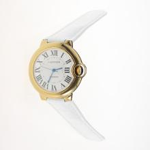 Cartier Ballon bleu de Cartier Automatic Gold Case with White Dial-White Leather Strap