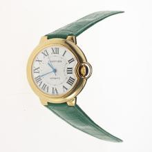 Cartier Ballon bleu de Cartier Automatic Gold Case with White Dial-Green Leather Strap