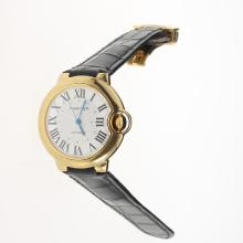Cartier Ballon bleu de Cartier Automatic Gold Case with White Dial-Black Leather Strap