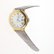 Cartier Ballon bleu de Cartier Automatic Gold Case with White Dial-Gray Leather Strap