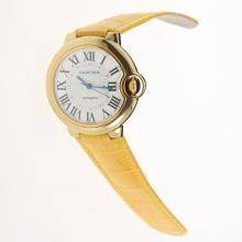 Cartier Ballon bleu de Cartier Automatic Gold Case with White Dial-Yellow Leather Strap