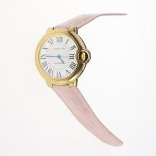 Cartier Ballon bleu de Cartier Automatic Gold Case with White Dial-Light Pink Leather Strap