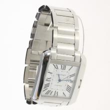 Cartier Tank Swiss ETA 2836 Movement Roman Markers with White Dial S/S