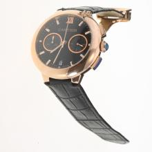 Cartier Rotonde de Cartier Working Chronograph Rose Gold Case with Black Dial-Black Leather Strap