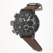 U-Boat Italo Fontana Working Chronograph PVD Case with Black Dial-Leather Strap-3
