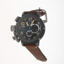 U-Boat Italo Fontana Working Chronograph PVD Case with Black Dial-Leather Strap-2