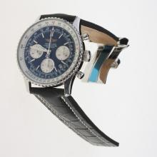 Breitling Navitimer Chronograph Swiss Valjoux 7750 Movement Stick Markers with Black Dial-Leather Strap