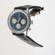 Breitling Navitimer Chronograph Swiss Valjoux 7750 Movement Number Markers with Black Dial-Leather Strap