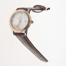 Omega De Ville Two Tone Case with Silver Dial-Leather Strap