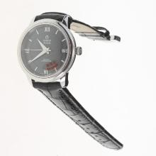 Omega De Ville with Black Dial-Leather Strap