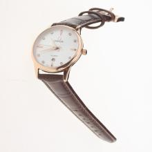 Omega Constellation Rose Gold Case with White Dial-Leather Strap