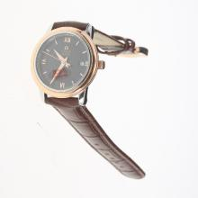 Omega De Ville Two Tone Case with Black Dial-Leather Strap
