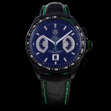 Tag Heuer Grand Carrera Calibre 17 Working Chronograph PVD Case with Black Dial-Leather Strap