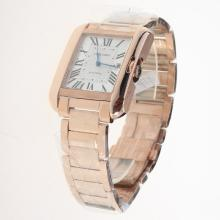 Cartier Tank Swiss ETA 2836 Movement Full Rose Gold Roman Markers with White Dial