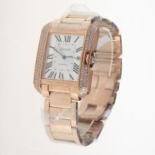 Cartier Tank Swiss ETA 2836 Movement Full Rose Gold Diamond Bezel Roman Markers with White Dial